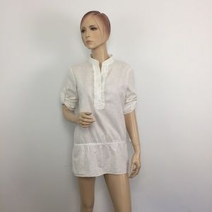 Lilly Pulitzer Linen Blend Roll-Tab  Off white Top